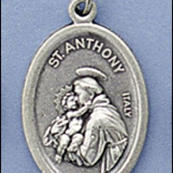"Qty 5 Catholic, Religious Charms 1"" Oxidized Silver Tone St. Anthony Medal. Jump Ring Incl. Made in Italy"