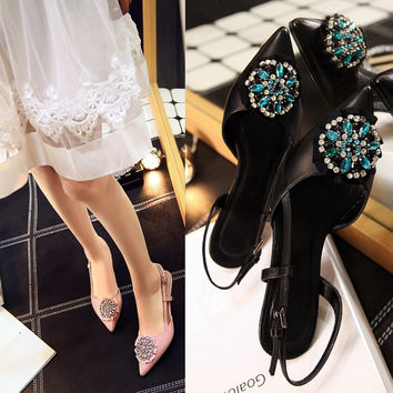 Summer Leather Pointed Toe Floral Rhinestone With Heel Shoes [4919953668]