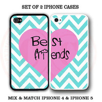 Mint Chevron Pink Heart BFF Best Friends iPhone Case -2 iPhone 4 / 4s / 5S Cases