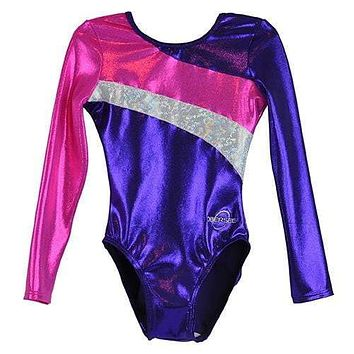 O3GL030 Obersee Girl's Girls Gymnastics Leotard - Long Arm Diagonal Purple