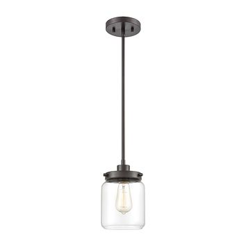 Mason 1-Light Mini Pendant in Oil Rubbed Bronze with Clear Glass