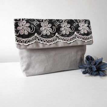 Make up bag large, Grey canvas pouch, Lace pouch,  Envelope pouch, Black lace clutch, Grey clutch purse, Lace cosmetic bag