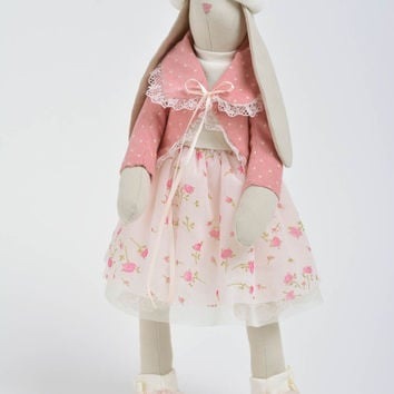 Handmade designer interior soft doll rabbit girl in pink clothing and white hat