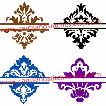 Split Damask Designs Digital Cutting File - Instant Download - Graphic Design - Digital Cutting Machines - SVG, DXF, JPG