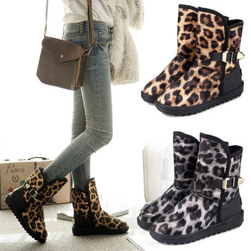 On Sale Hot Deal Korean Winter Flat Leopard Boots [9432933834]