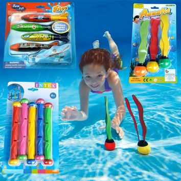 Retail Package New Summer Torpedo Rocket Throwing Toy Funny Swimming Pool Diving Game Toys Children Underwater Dive Toy #CS