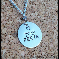 Team Peeta Hunger Games Hand Stamped Nickel Silver Necklace - Gale and Finnick