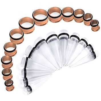 BodyJ4You Stretching Kit Clear Taper Stainless Steel Rose Goldtone Tunnel Plug 00G-20mm Gauge Set 24PC