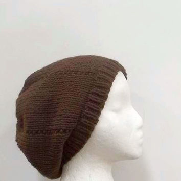 Brown beanie hat beret for men or women hand knitted 4799