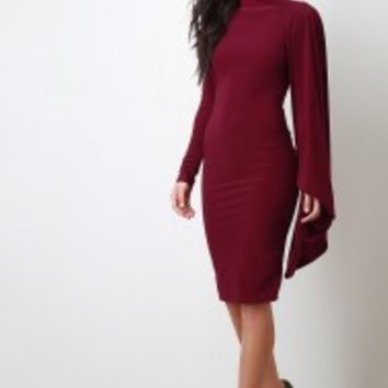 Open Back Mock Neck One Shoulder Cape Long Sleeves Midi Dress