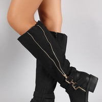 Buckle Zipper Round Toe Riding Knee High Boot