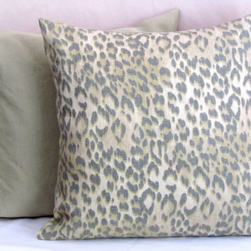 Linen leopard throw pillow shams – 20x20 pillow cover – Animal print Robert Allen cushion cover – Cheetah spot luxury sofa toss pillowcase
