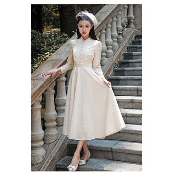 High Quality Explosions Leisure Vintage Elegant Dresses women Retro Embroidery Lace fullSleeve Spring summer Dress