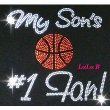 Basketball mom - iron on rhinestone hotfix transfer - orange basektball - team sports  Hot Fix Bling DIY sons number 1 fan