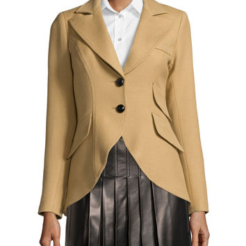 Equestrian Two-Button Jacket, Camel/Black, Size: