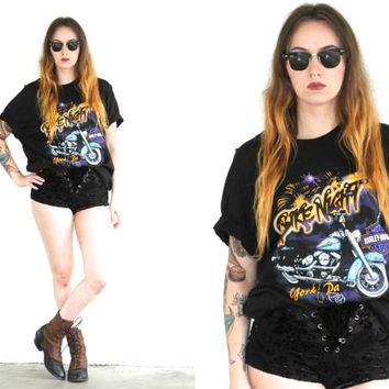 Vintage 90s HARLEY DAVIDSON Bike Night Black T Shirt // Hipster Bohemian Biker Gypsy // Small / Medium / Large / XL Extra Large