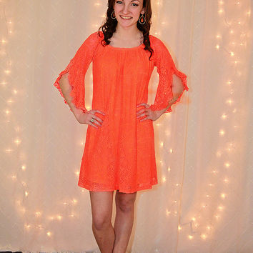 Crazy with Lace Dress in Orange