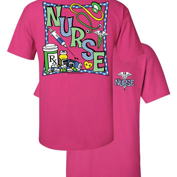 Southern Couture Chevron Nurse CNA RN LPN BSN ADN Girlie Bright T Shirt