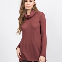 Knit Turtleneck Tunic Top