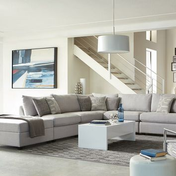 6 pc Claude II collection grey linen like fabric upholstered modular sectional sofa