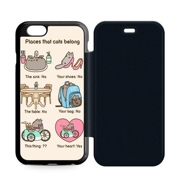 Pusheen Cat Leather Wallet Flip Case iPhone 6 | 6S
