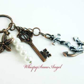 Nautical Anchor Keychain Starfish and Key Charms White Glass Pearls White Washed Anchor Beautiful