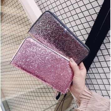 European and American style Leather Wallet Women Glitter Sequin Wallets Fashion new Money Purse solid color Credit Card Bags
