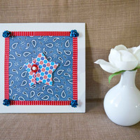Patriotic - Embellished Mini Canvas - Summer Decor - 4th of July - Military
