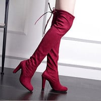 Women's Suede Thigh High Boots Over the Knee Boots