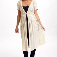 Ivory Lace Accent Button Front Maternity Cardigan