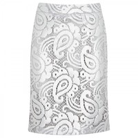 Metallic lace pencil skirt