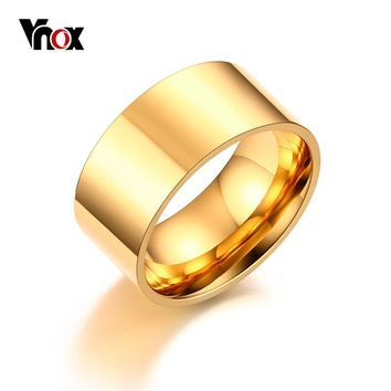 Vnox 10mm Classic Wide Ring for Men Rose Gold-Color Silver Color Stainless Steel Male Ring Alliance Wedding Jewelry