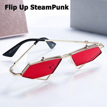 JackJad Fashion SteamPunk Style Flip Up Clamshell Sunglasses Cool Unique Rock Punk Brand Design Sun Glasses Oculos De Sol 23019