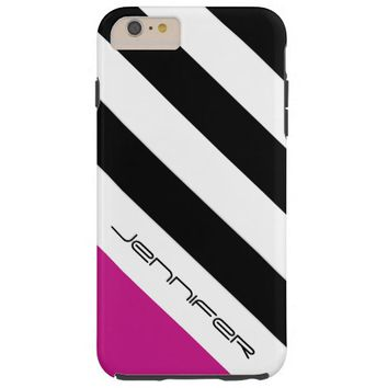 Black, White, Pink Stripe, Chic, Personalized Name Tough iPhone 6 Plus Case