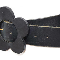 "1960s MARY QUANT Vintage Leather Belt,Black Leather Belt with Flower Buckle,Wide Black Belt,4"" Wide Adjustable Belt,Mod Boho Hippie Belt"