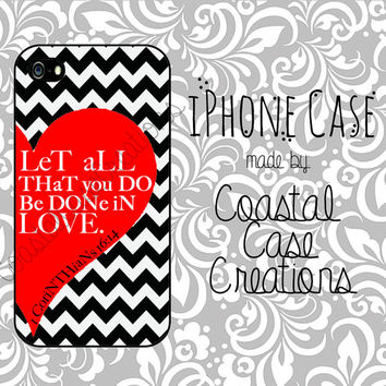 Red Heart and Chevron 1 Corinthians 16:14 Bible Quote Apple iPhone 4 and 5 Hard Plastic or Rubber Phone Case Cover Original Design