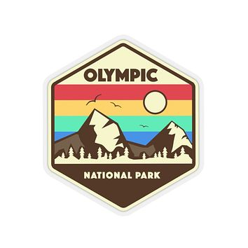 Olympic National Park Retro Sticker, National Park Sticker, National Park Gift, Olympic National Park Gift