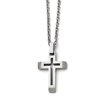 Stainless Steel Knife Edge Latin Cross Pendant Necklaces - 42.72x24.96mm Cable