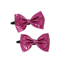 Pink Glitter Bow Hair Clips 2 Pack