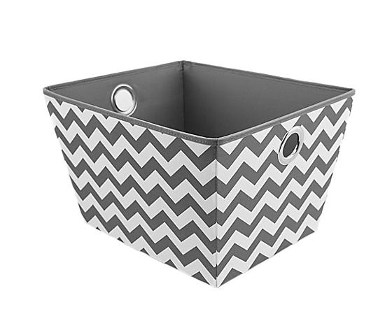 Medium/Large Grommet Storage Bin Toteu0027s Grey Chevron