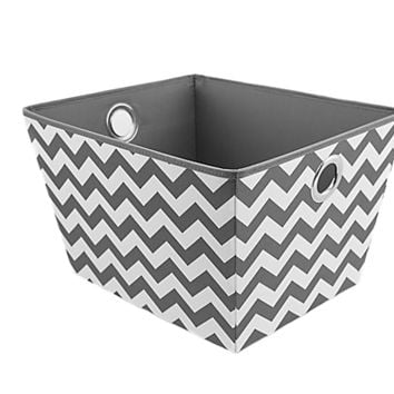 Medium/Large Grommet Storage Bin Tote's Grey Chevron