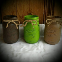 Twitter 500 sale Distressed Mason jar set of 3 fall colors wedding baby shower home decor