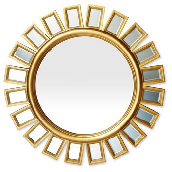 Mirrors, Sunburst Beveled Wall Mirror, Gold, Wall Mirrors