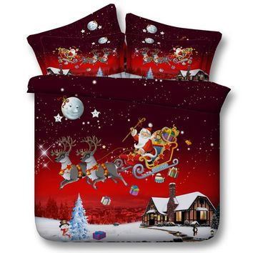 Merry Christmas Bedding Set,Red Duvet Cover Sets Flat Bed Sheet for Kids Santa Claus with Elk Quilt Cover Twin Queen King Size