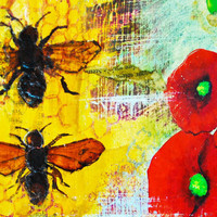 Art Print Notecard - Honeybees and Hollyhock Flowers
