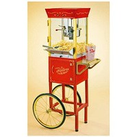 Nostalgia Electrics Vintage Collection Movie Cart Popcorn Maker, Red, CCP-510