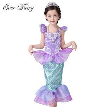 EVER FAIRY Children Baby Girl Clothes Little Mermaid Fancy Kids Girls Mermaid Dresses Princess Ariel Cosplay Halloween Costume