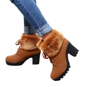 Winter Women Snow Boots Comfortable Ankle Boots Slip Resistant Rubber Warm Boots