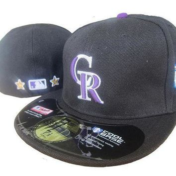 ESB8KY Colorado Rockies Cool Base 59FIFTY MLB Cap All-Star Patch Black