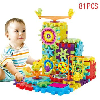 81 Pcs Plastic Electric Gears 3D Puzzle Building Kits Bricks Educational Toys For Kids Children Gifts free